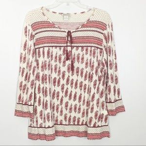 Lucky Brand Paisley Border Print Peasant Top- XL